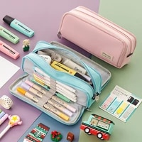 double sided pen bag pencil case special macaron color dual canvas pocket storage bag pouch stationery school travel a6899