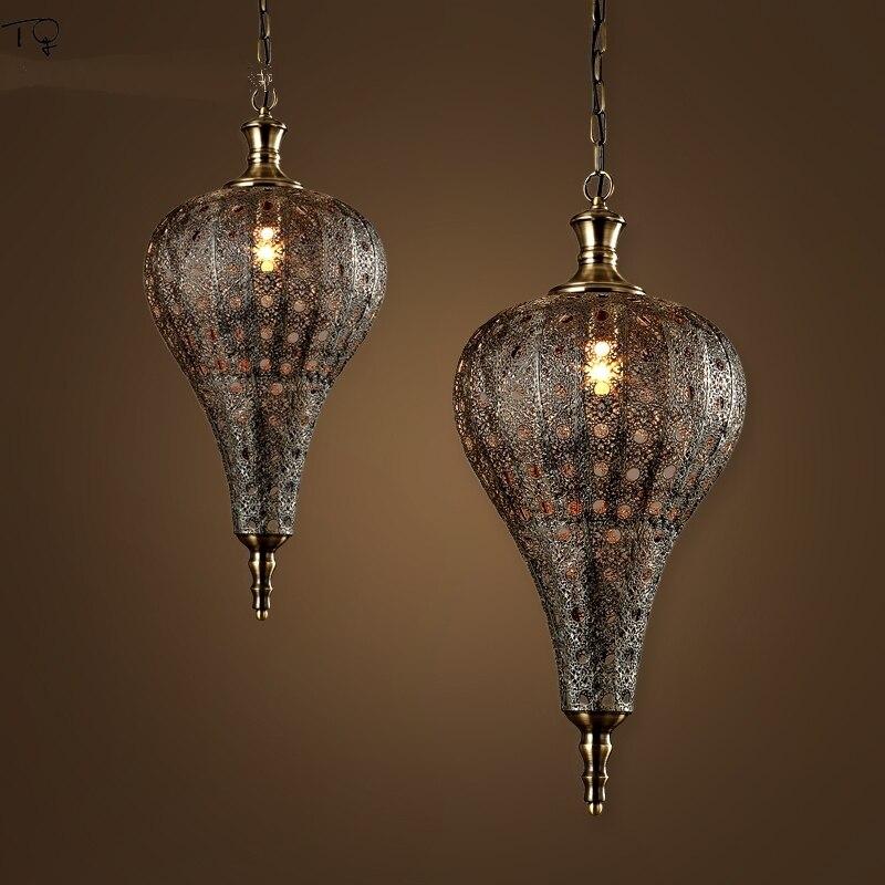 Vintage Retro hueco luces colgantes de hierro India Sudeste asiático Pataliputra Led lámpara colgante Industrial restaurante Loft linternas