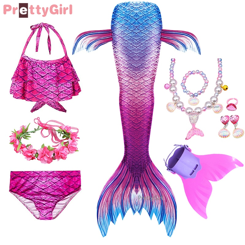 PrettyGirl Kids Girls Swimming Mermaid tail Mermaid Costume Cosplay Children Swimsuit Fantasy Beach Bikini can add Monofin Fin