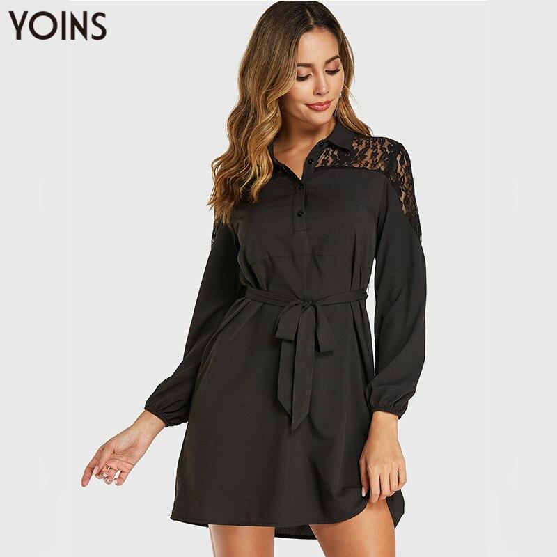 Vestido de retazos de encaje de mujer YOINS 2020 primavera otoño Sexy solapa OL trabajo manga larga Mini Vestidos negro Vestidos de talla grande Robe