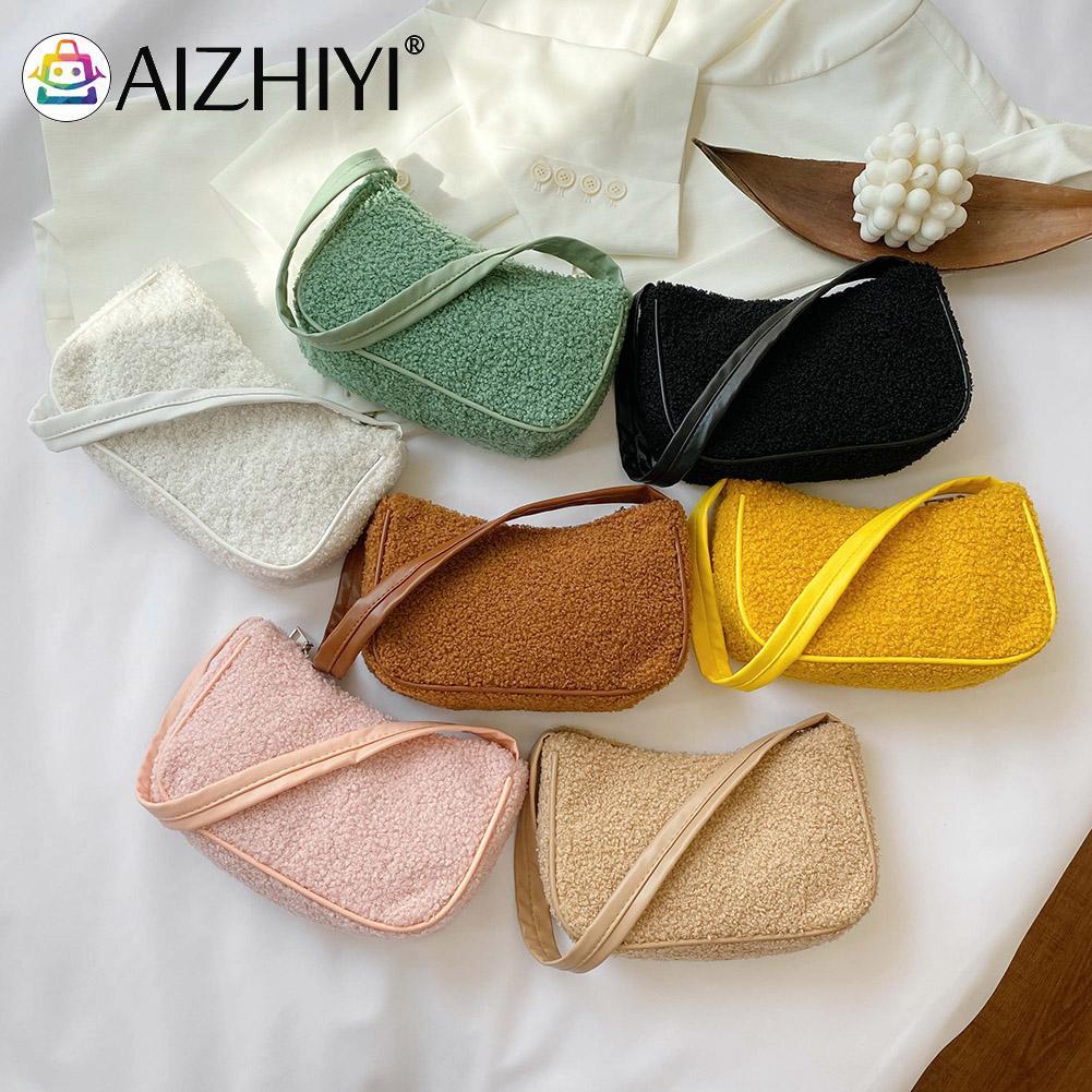Autumn Winter Fashion Woolen Handbag Totes Women Solid Color Underarm Shoulder Bags Casual Travel St