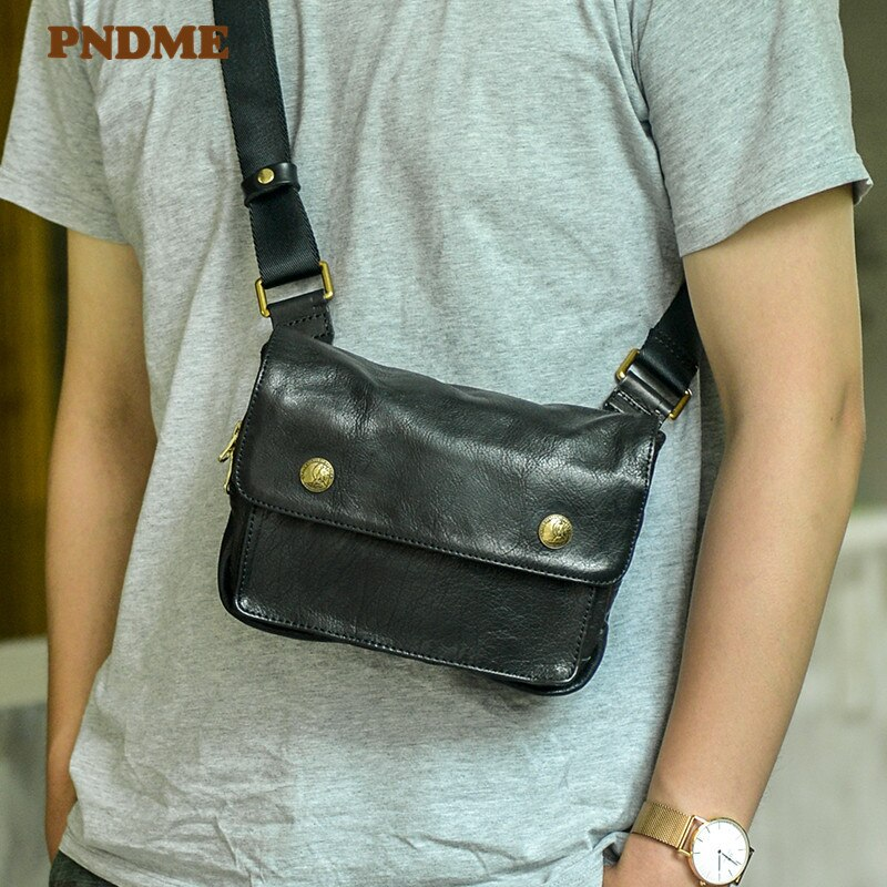 PNDME casual designer natural real leather men multifunctional small chest bag fashion outdoor daily youth sports crossbody bag