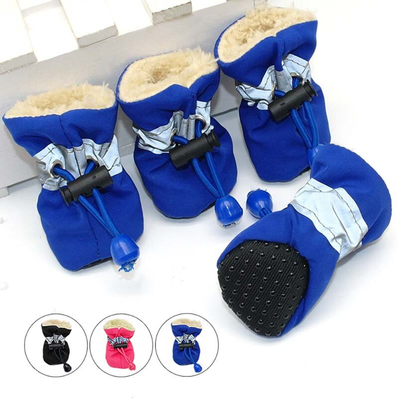 4pcs Antiskid Puppy Shoes Pet Protection Soft-soled Pet Dog Shoes Winter Waterproof Prewalkers Soft Supplies Pet Paw Care