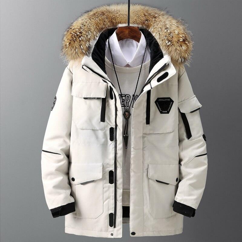 Thicken Down abrigo de hombre con gran cuello de piel Real Parka caliente-30 grados hombres Casual grueso invierno impermeable abajo chaqueta tamaño 3XL