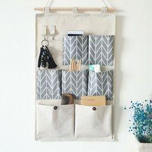 Bolsas de almacenamiento de lino y algodón para colgar en la pared, organizador impermeable para puerta, armario, dormitorio, juguetes, llaves, hogar y oficina, 7/3 bolsillos
