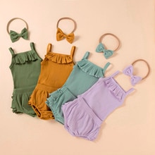 Newborn Baby Clothes Set Summer Newborn Baby Girl  Cute Clothes  Solid Romper  Solid Color Shorts In