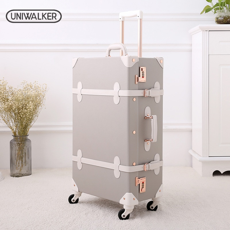 UNIWALKER Grey 12''20''22''24''26'' Retro Rolling Luggage Trolley Bagage on Spinner Wheels Travel Bags PU Leather Suitcases