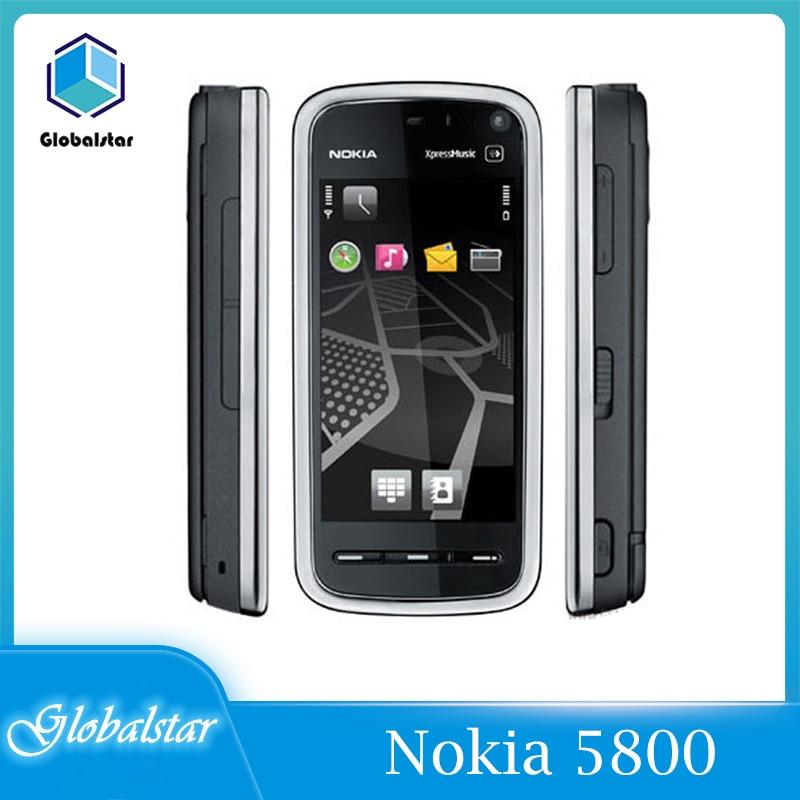 Nokia 5800 Восстановленный Оригинальный Nokia 5800 xpressmusic 3,2 Мп камера GPS WIFI FM радио Bluetooth один год гарантии Бесплатная доставка