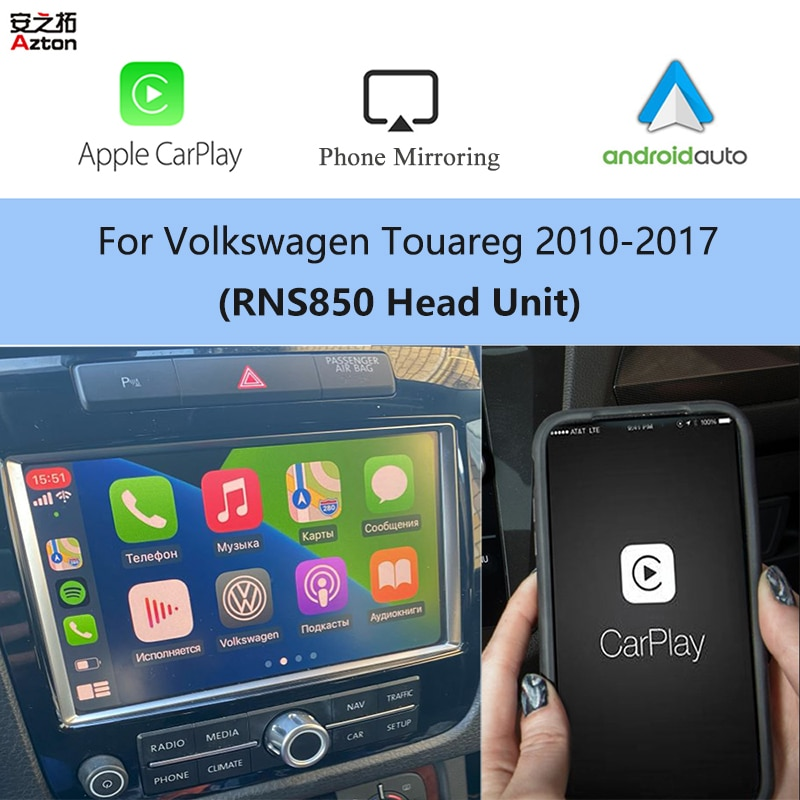 Review AZTON RNS 850 Wireless iPhone CarPlay Video Integration for VW Touareg Android Auto Apple CarPlay Airplay Reverse Camera Box