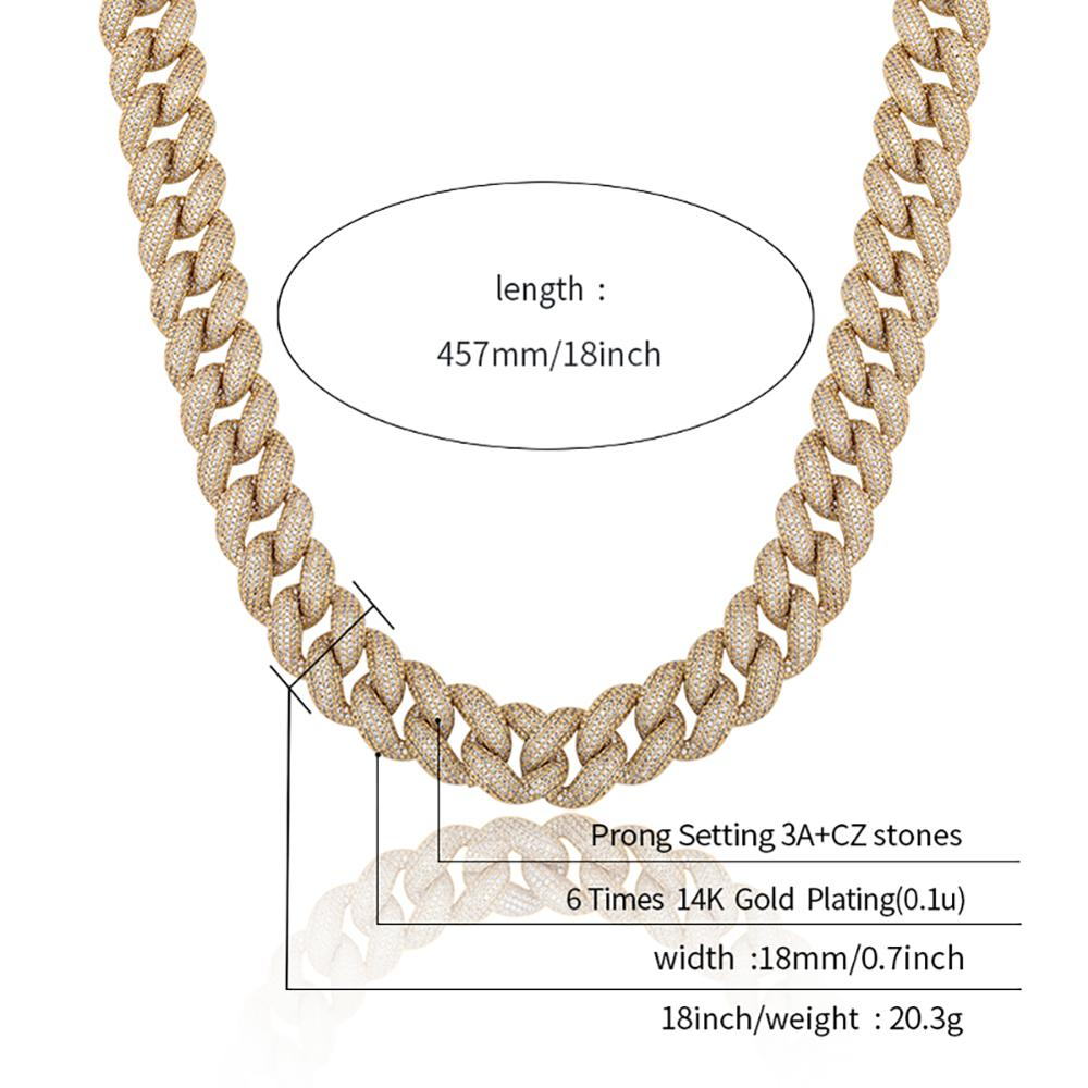 TOPGRILLZ Mens Necklace 18MM Miami Cuban Chain with Spring Clasp Ice Micro Pave CZ Hip Hop Fashion Luxury Jewelry For Gift Party
