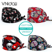 cotton Sugar Skull printing hats adjustable scrub hat beauty salon working cap laboratory pet shop n