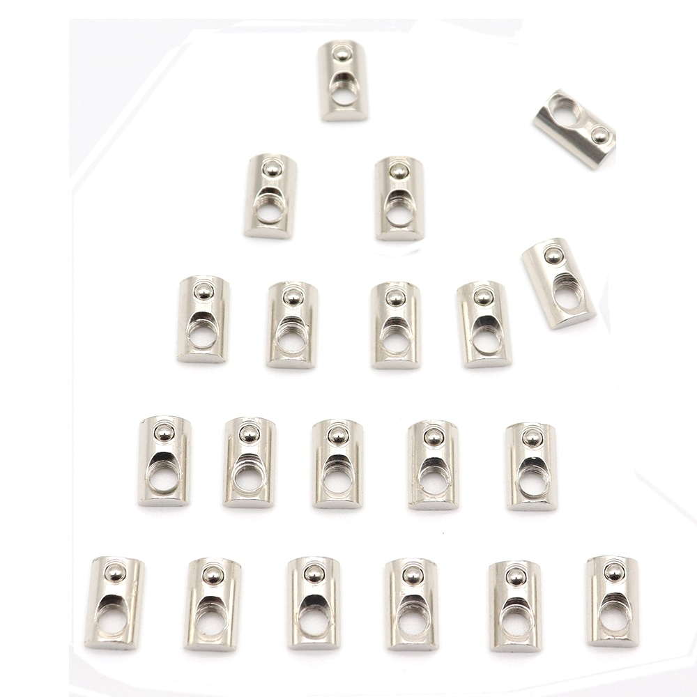 20 pçs/lote niquelagem 20 série Roll-in T Primavera Nuts M3 M4 M5 M6 Para 2020 Perfis De Alumínio