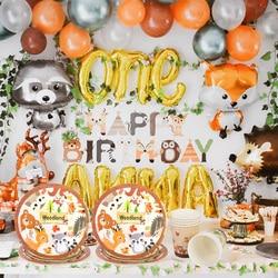 Raposa raccoon woodland festa conjunto de utensílios de mesa descartáveis floresta folha animal balões crianças um ano de idade decorações de aniversário
