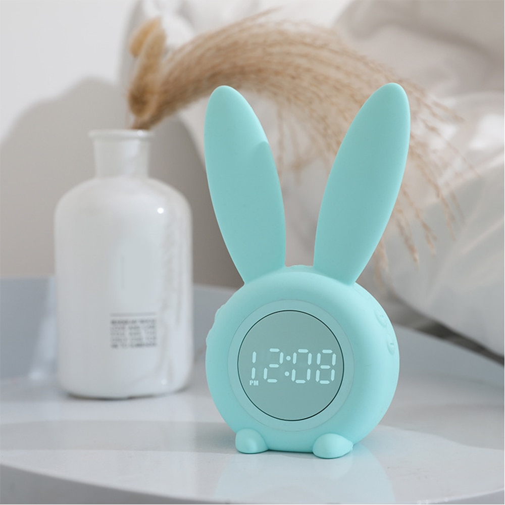 Conejo sonido inducción temporizador despertador creativo LED Digital despertador inducción pequeño reloj despertador USB con luz nocturna