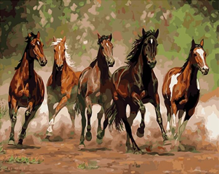Cuadros enmarcados de PAINTBOY, lienzo Digital DIY, pintura al óleo para decoración del hogar, pintura artística para pared y caligrafía, caballos GX8288 40*50cm