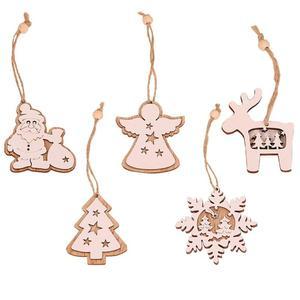 2pcs Christmas White Snowflake Wooden Pendant for Xmas Tree Christmas Ornaments Christmas Tree Decoration Navidad Home Decor