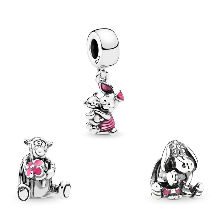 Original 925 Sterling Silver Charm Bead Tigger Eeyore Piglet Winnie Pooh Dangle Charm Fit Pandora Bracelets Women Diy Jewelry