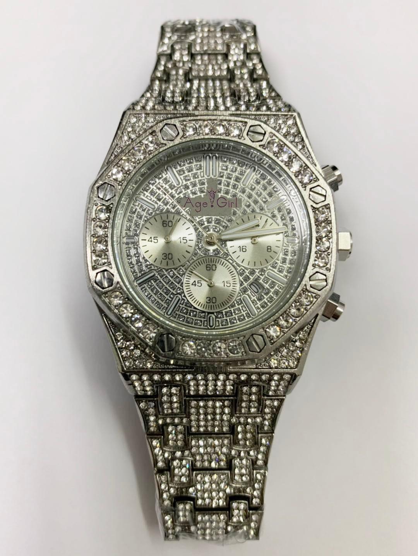 Nuevo reloj de lujo para hombre, cronógrafo de zafiro, acero inoxidable, amarillo, oro, rosa, plata, negro, cronómetro de diamantes con hielo completo, deporte