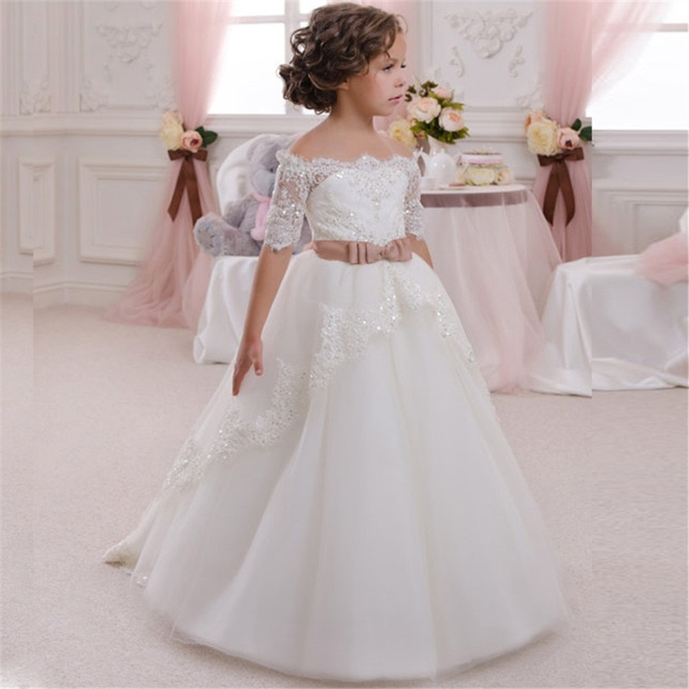 Novo vestido da menina de flor para casamento branco marfim apliques a linha mangas curtas o-pescoço primeira comunhão vestidos longo
