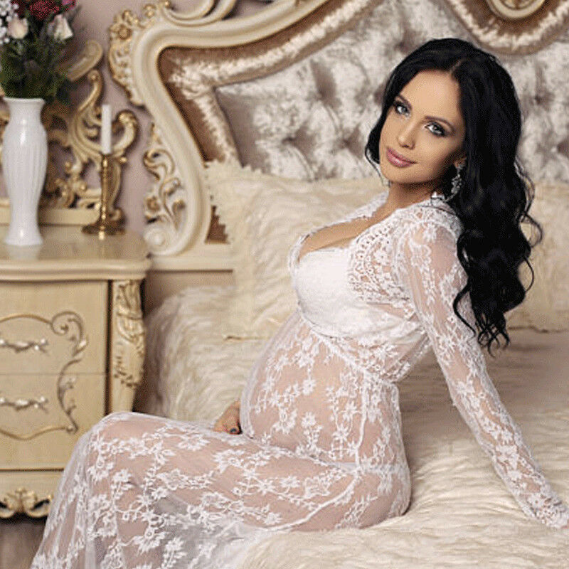 New Pregnant Women Long Sleeve Lace Long Maxi Dress Maternity Photography Props