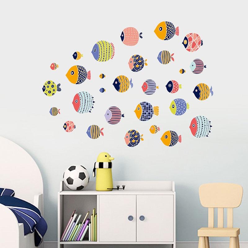 Pegatinas de pared subacuáticas coloridas con dibujos de peces del mundo marino para decoración de la habitación de los niños, decoración del hogar, pegatinas de arte impermeables para el baño
