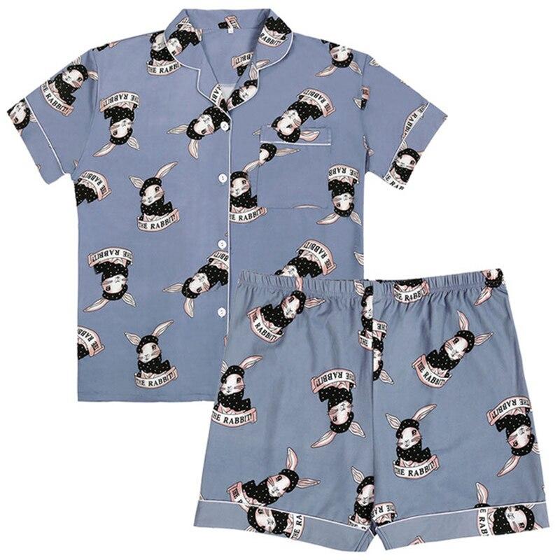 Conjuntos de pijamas cómodos pijama conejo Lencería Linda ropa corta ropa interior femenina ropa de dormir de gran tamaño pijamas de niñas 2019