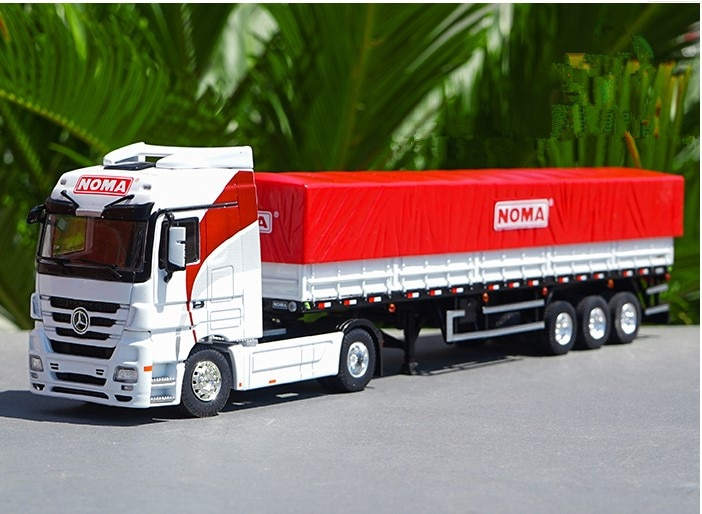 Juguete de aleación coleccionable, modelo regalo a escala 150, contenedor de BENZ, camión de transporte con valla NOMA para decoración de exhibición