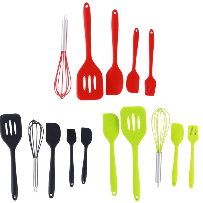 Food Grade Silicone Squeegee 5-piece Set Shovel Shovel Egg Beater Tool Red Supplies Kitchenware Kitchen Utensil Set