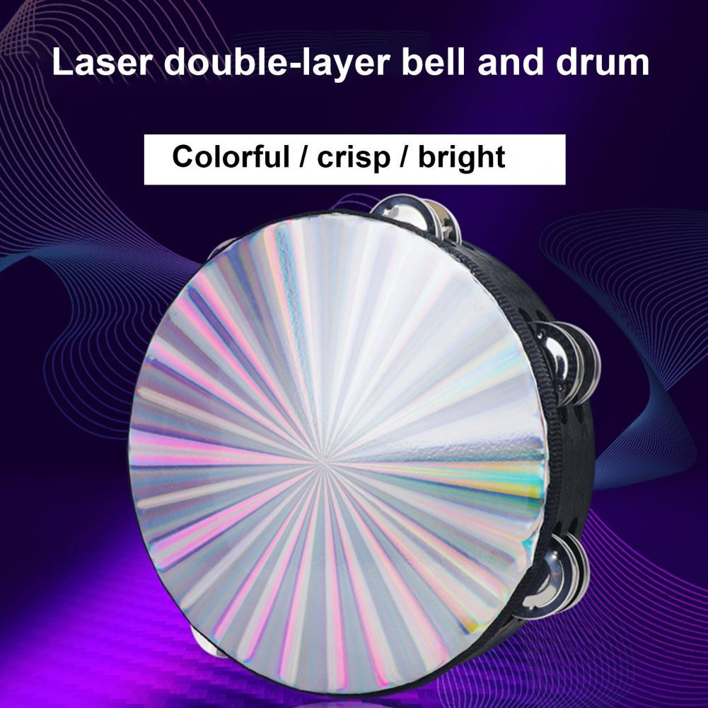 Durable Great Tambourine Musical Educational Instrument Portable Tambourine Fine Workmanship for Ceremony