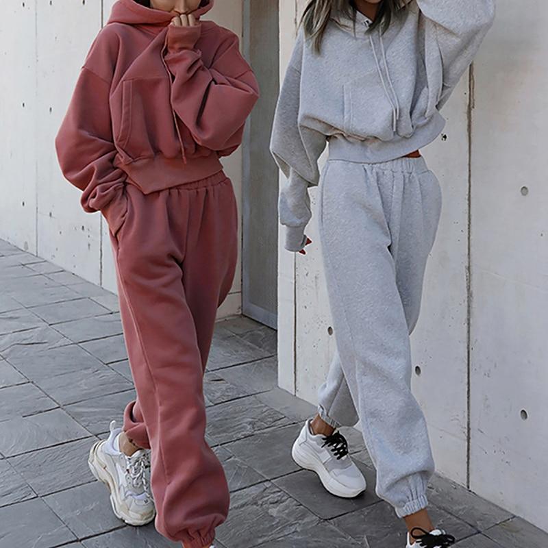 Модный спортивный костюм из 2 предметов для женщин, Повседневная Толстовка большого размера, свитшот, свободные спортивные штаны, осенняя Женская одежда, спортивный костюм для бега