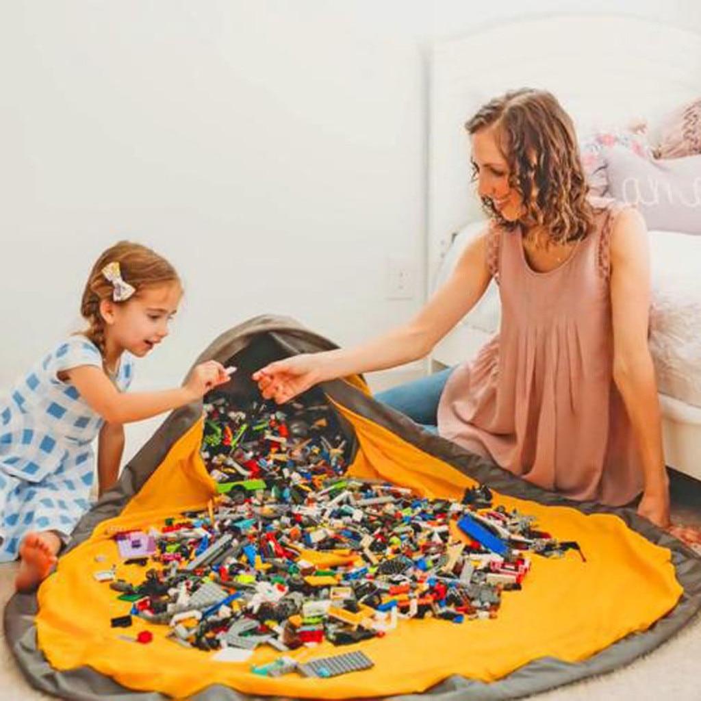 Bolsa práctica-juguetes de almacenamiento-tapete portátil para niños bolsa de almacenamiento de juguetes y tapete de juego organizador con cordón