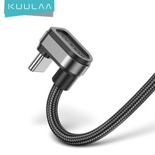 KUULAA USB C ชาร์จเร็วสำหรับ Samsung S10 S9 S8 Xiaomi Mi USB Type C 180 องศา USB-C ข้อมูลสายโทรศัพท์มือถือ