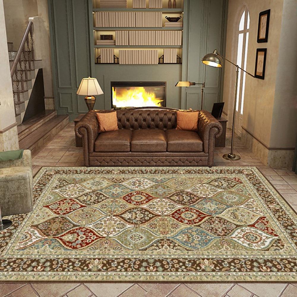 سجادة بجانب السرير على الطراز الفارسي لغرفة النوم ، قصر ريترو ، طباعة زهور هندسية ، لغرفة المعيشة ، أريكة ، طاولة ، غير قابلة للانزلاق