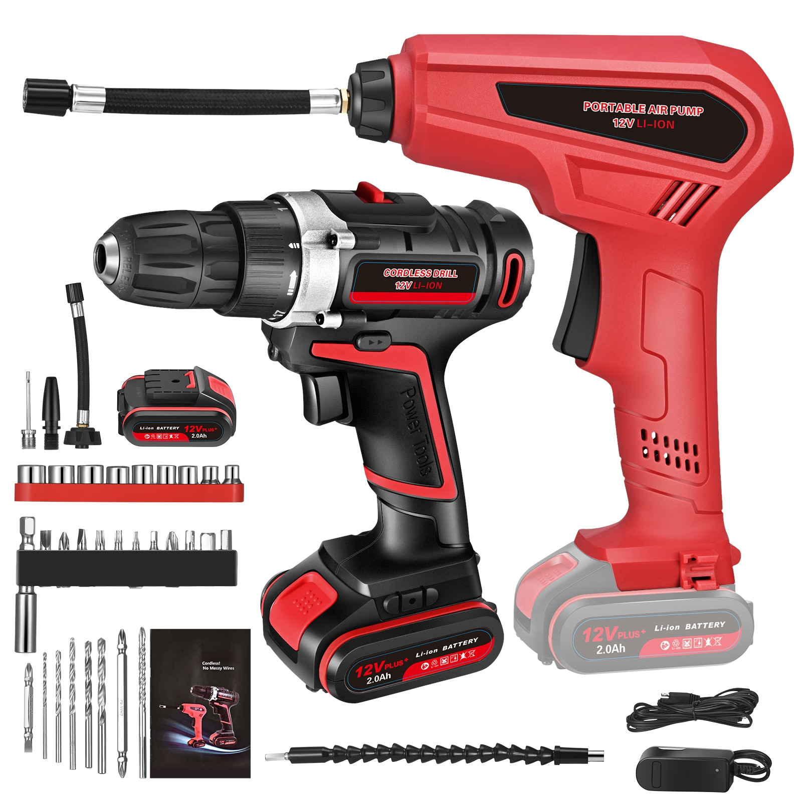 12V Cordless Drill And Tire Pum Portable Torque Electric Drill /driver Kit With 30 Accessories Tire Inflation Pump 3 Nozzles