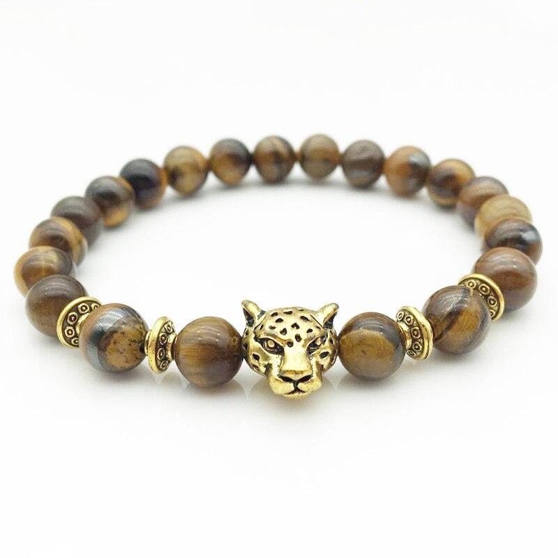 2019 joyería de moda para hombre pulsera de abalorio Ojo de Tigre con piedra Natural, accesorios de aleación con cabeza de leopardo, brazalete para hombre, regalo