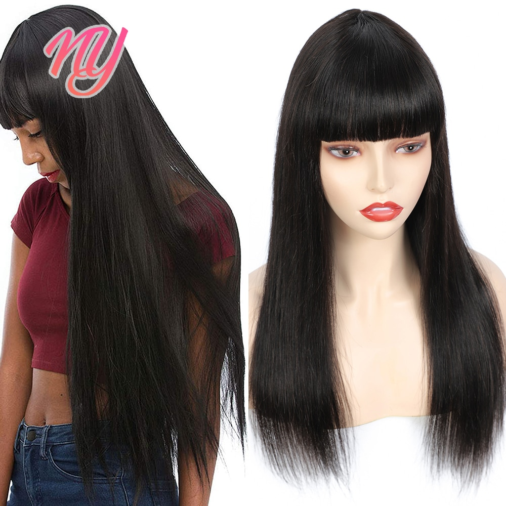 """NY Natural Color Remy Human Hair Wig with Bangs Fully Machine Made Wigs Straight Style Cheap perruque 180% Density 8"""" to 28 inch"""