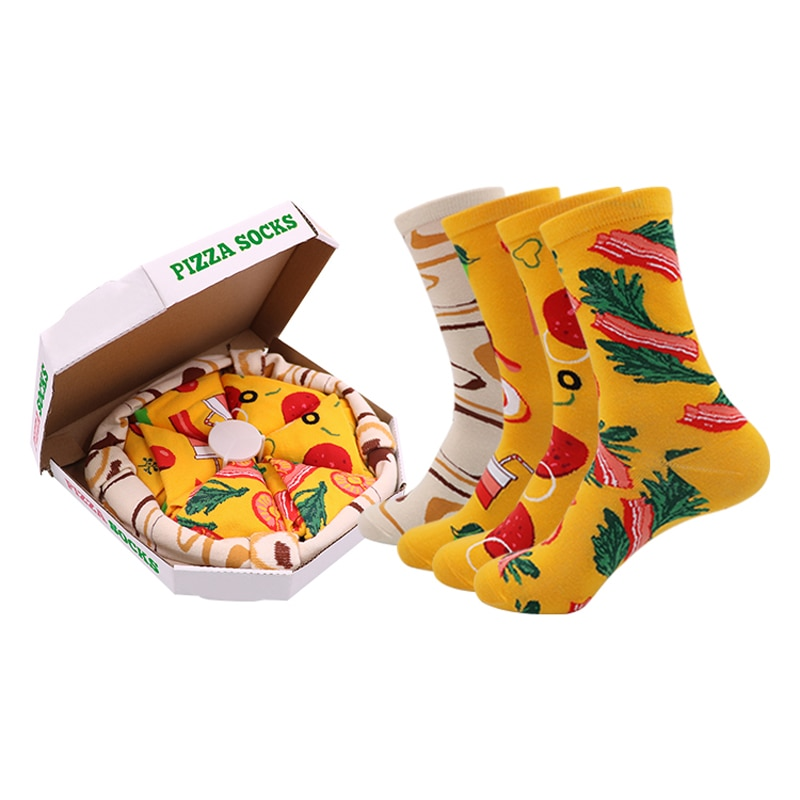 DaiShana Women Socks Personalized Design Pizza Sushi Christmas Set Gift Box Socks Happy Harajuku Skate Cotton Sokken Happy Gift