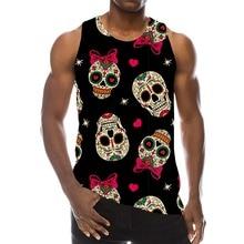 Skull Graphic Tank Top For Men 3D Print Rainbow Sleeveless Pattern Streetwear Top Psychedelic Skeleton LA Hip Hop Vest