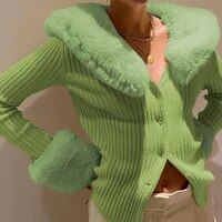 y2k faux feather patchwork knitted cardigan women sexy elegant v neck button down korean long sleeve knitwear outfits