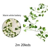 2M 20 LED plantes artificielles chaine lumiere feuille derable vert vigne pour mariage a la maison