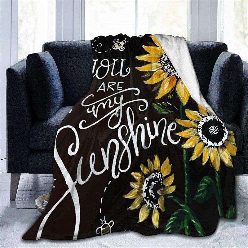 الشمس المشرقة أنت عباد الشمس لينة أفخم هدية الفانيلا صوف ليف دقيق المفرش شيربا 3d-print بطانية الأريكة