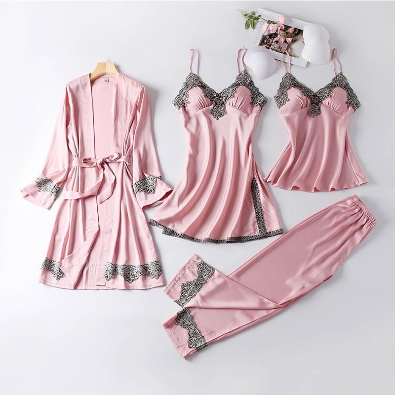 4PCS Satin Sleepwear Lady Pajamas Suit Nighty&Robe Suit Sexy Intimate Lingerie Casual Bridal Wedding Gift Homewear Nightgown