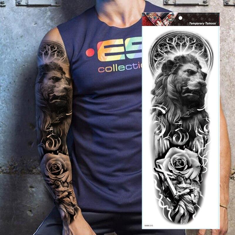 Large Arm Sleeve Tattoo Lion King Black Rose Waterproof Temporary Tatoo Sticker Wild Angel Cross Men Full Skull Totem Tatto