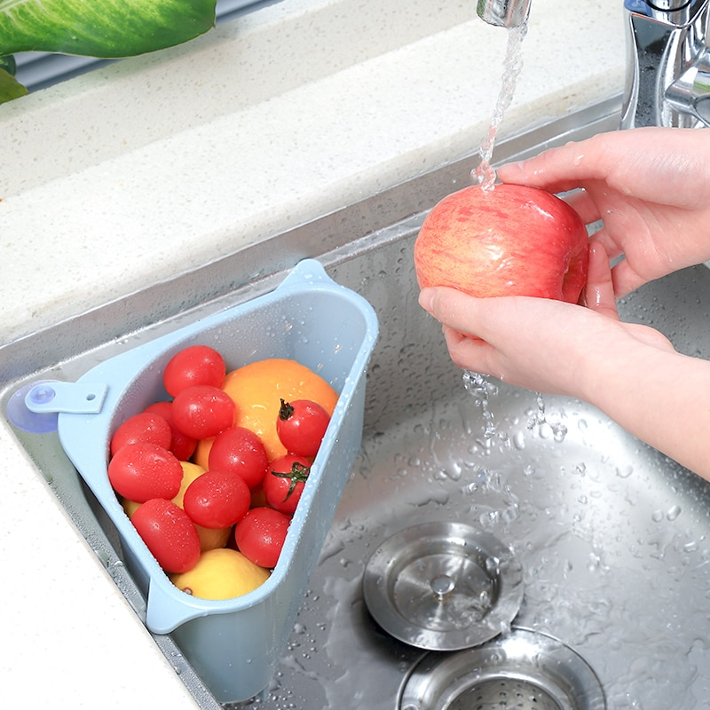 المطبخ الخضار الفاكهة تجفيف سلة بالوعة تصفية الثلاثي مصفاة شفط كأس الإسفنج حامل تخزين الرف