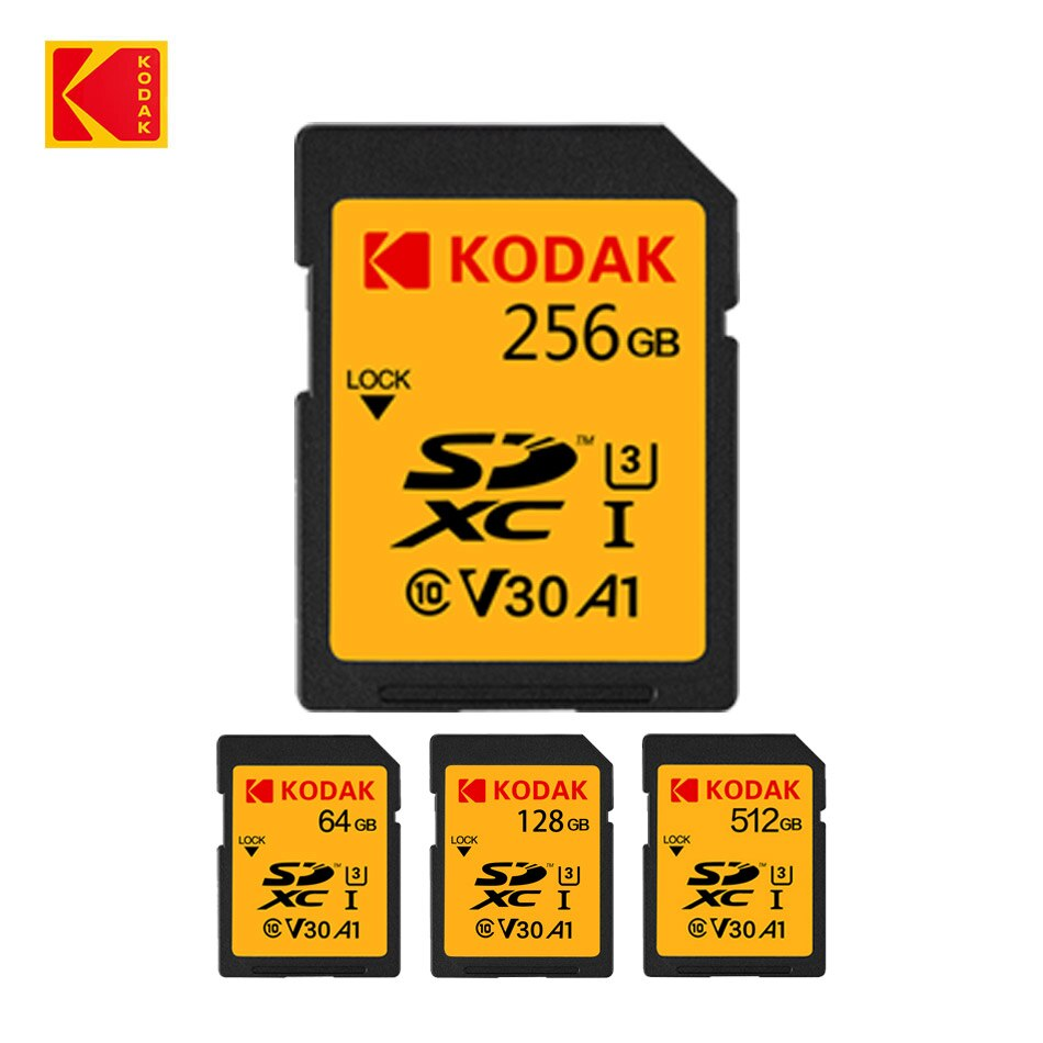 KODAK SD Card V30 C10 100MB/s Flash 16GB 32GB 64GB 128GB 256GB 512GB SDXC SDHC Class 10 Memory For DSLR Digital Camera