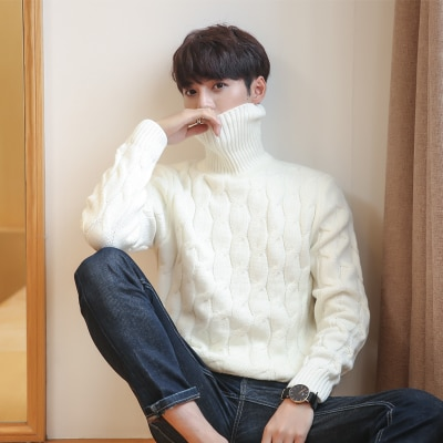 5XL Men Turtleneck Sweater Thick Knitted Pullover Winter Sweater Male High Turtle Neck Plus Size Mens Coats Black White Red 4XL