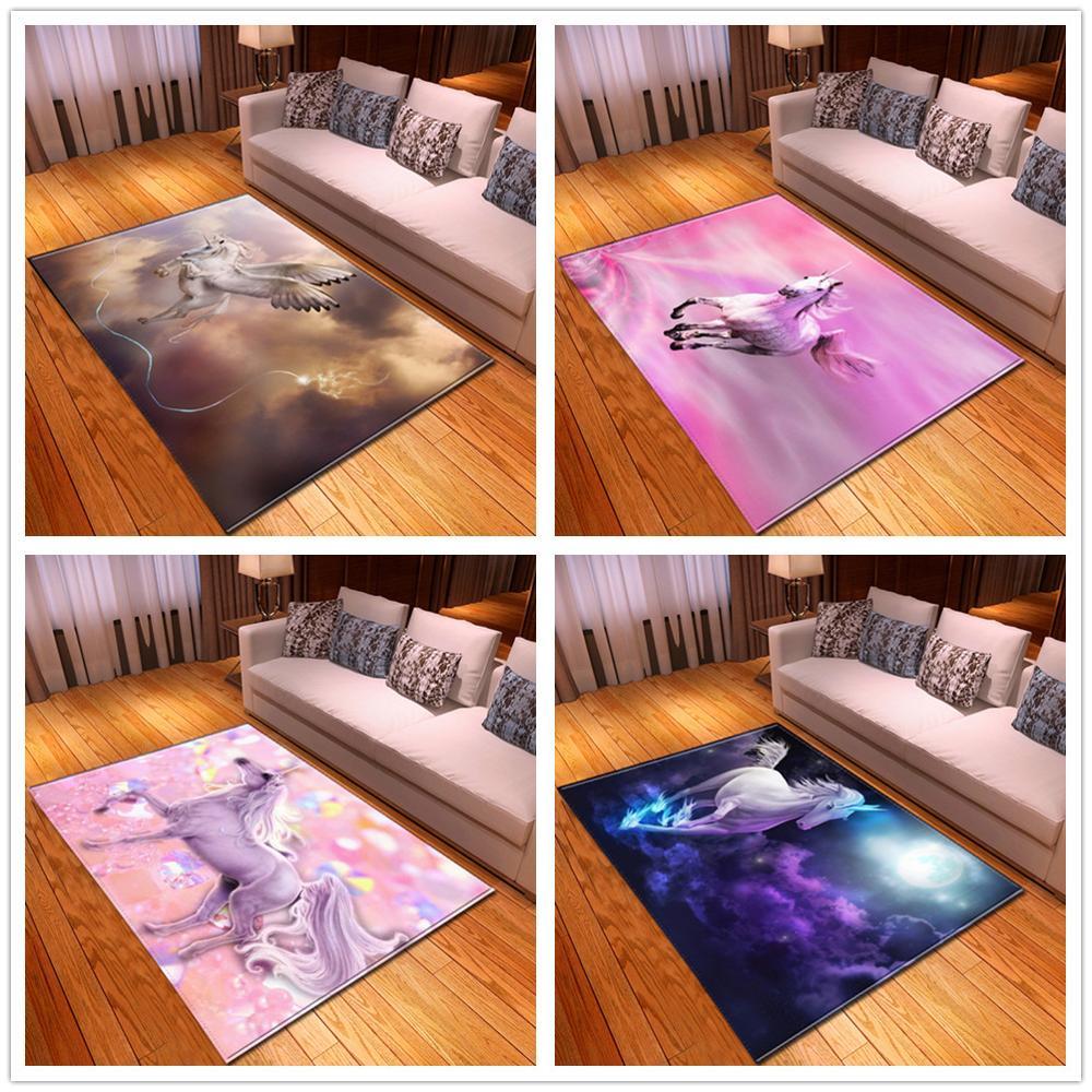 Unicorn Pattern Cartoon Carpets For Living Room Bedroom Decor Carpet Soft Flannel Kids Room play Area Rug Antiskid Floor Mat/Rug