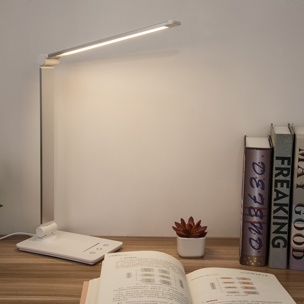 Lámpara LED de escritorio plegable para lectura regulable para estudio de dormitorio con luz nocturna con Control táctil ajustable y carga de USB de oficina