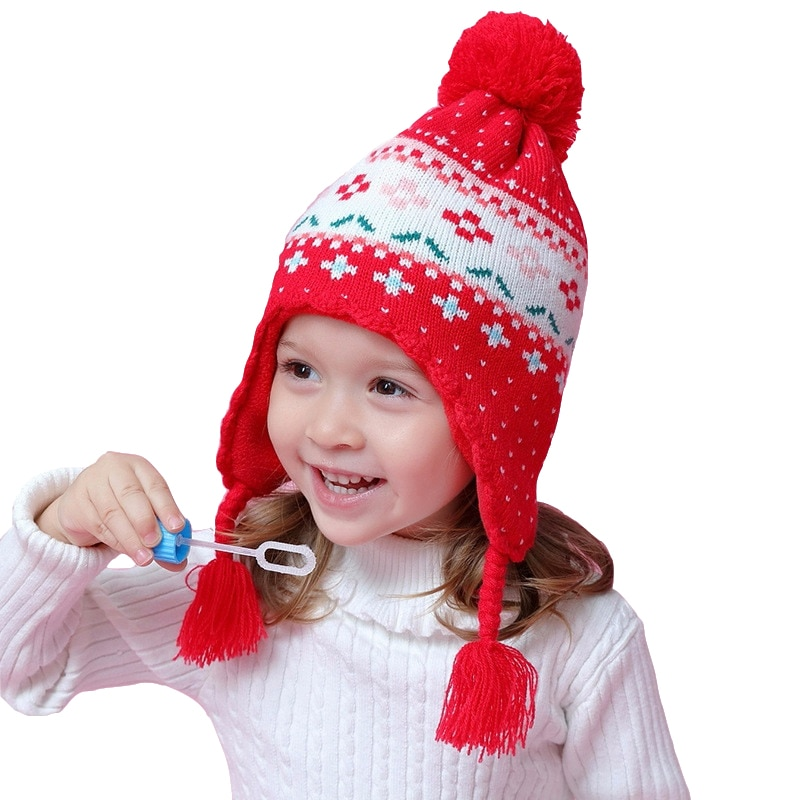 High Quality Toddler Baby Girls Winter Hat Children for 6 Month To 8 Years Old Kids Hats Warm Red Blue Beanie