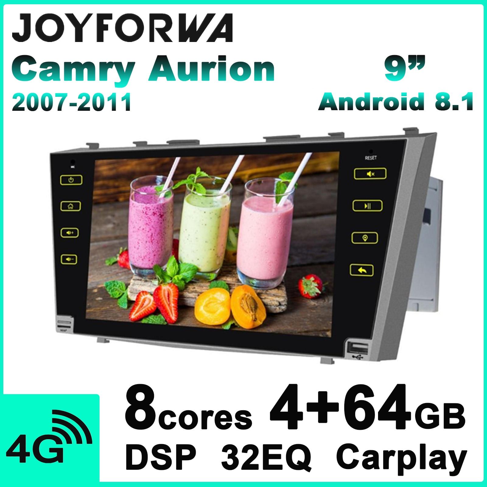 """9 """"2 Din Android Radio Car unidad principal para Toyota Camry Aurion 2007 2011 GPS navegación reproductor Multimedia Carplay volante"""